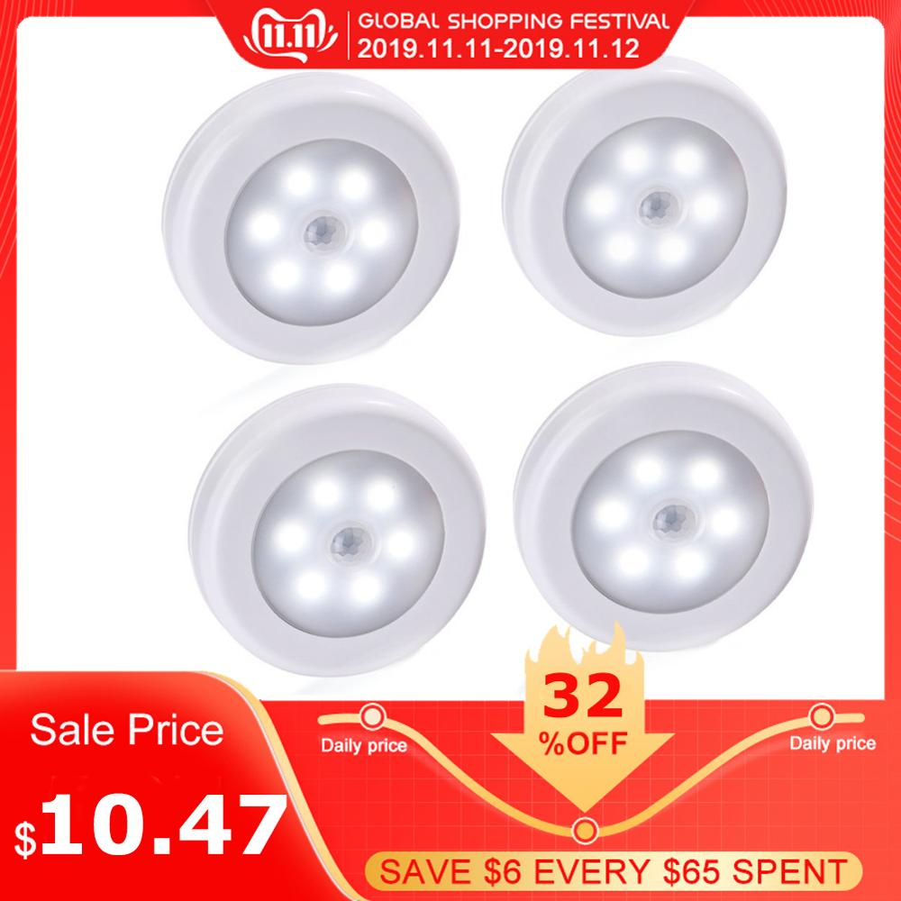 4pcs Body Motion Sensor 6 LED Wall Lamp Night Light Induction Lamp Corridor Cabinet Wall Lights Led Search Lamp Home Accessory
