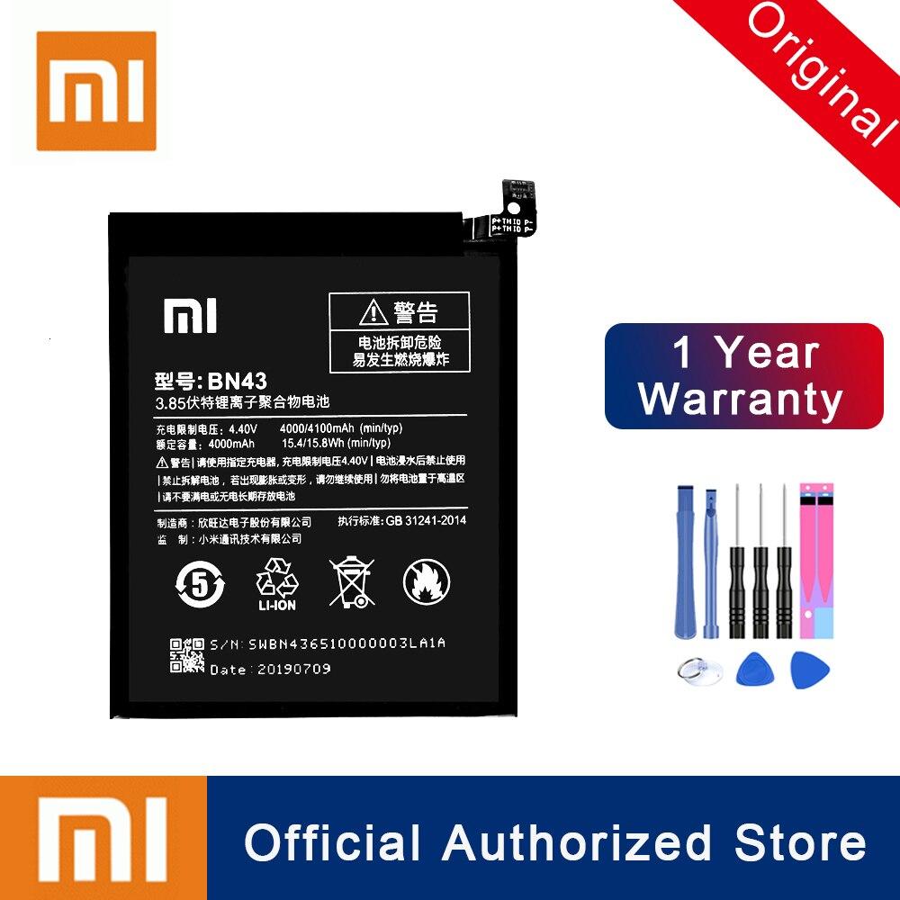 Xiao mi 100% original bn43 bateria para xiao mi vermelho nota 4x 4 global snapdragon 625 substituição 4000 mah telefone batteria akku