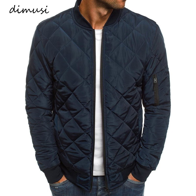 DIMUSI Autumn Winter Men's Bomber Jacket Male Outwear Thick Warm Parka Fashion Mens Slim Cotton Padded baseball Coats Clothing
