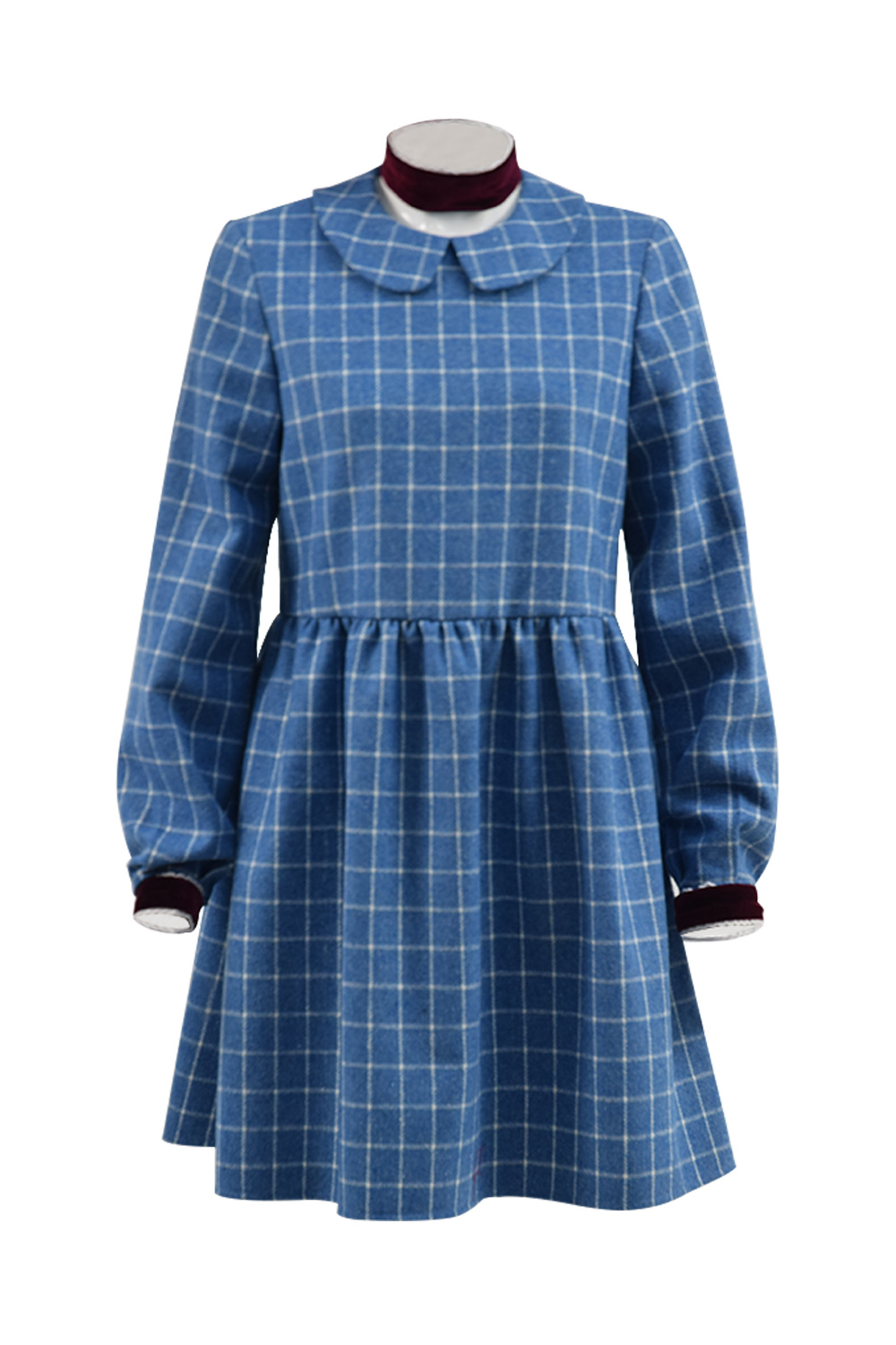 Cosdaddy Orphan Esther Cosplay Costume Women Girl Blue Grid Dress Halloween Party Horror Costume Full Set