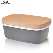 Butter Box Dishes Enamel Butter Container Plates Tray With Wooden Lid Cover Black High Quality White Storage Box High Quality