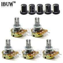 5 conjuntos 5 pces + 5 pces wh148 b1k ob1m ohm 1k 1m 2k 5k 20k 50k 10k 3pin 15mm terminal linear atarraxamento giratório potenciômetro para arduino