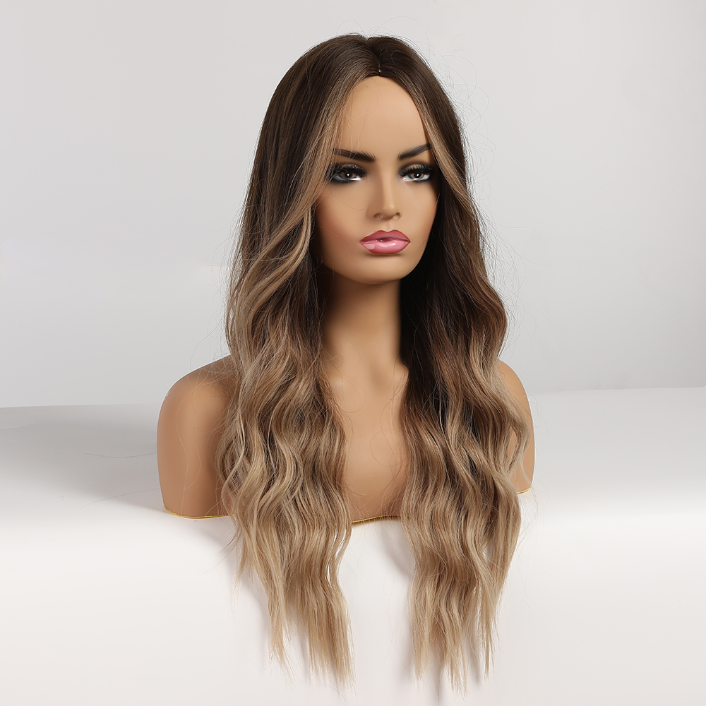 EASIHAIR Long Brown Ombre Wigs Glueless Wavy Synthetic Wigs for Black/White Women Cosplay Wigs Heat Resistant Natural Hair Wig