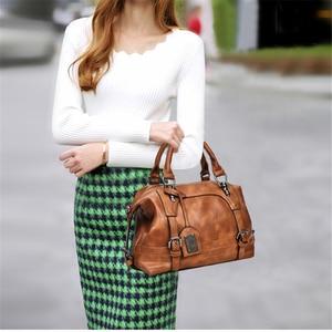 Image 2 - Women Bag Vintage Shoulder Bag Luxury Handbags PU Leather Crossbody Bags For Women 2019 Ladies Boston Casual Tote Bolsa Feminina