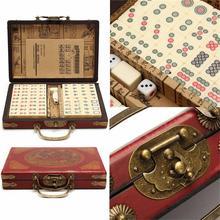 Juego de mesa de 144 azulejos Mah-pong portátil Vintage Mini juego de mesa de juguete chino con caja de bambú juegos de mesa