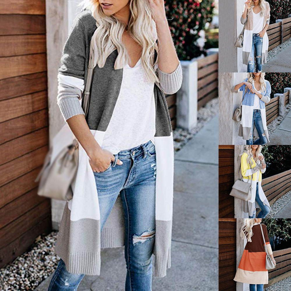 Heflashor Knit Sweater Draped Loose Cardigan Color-Block Long-Sleeve Striped Casual Coat