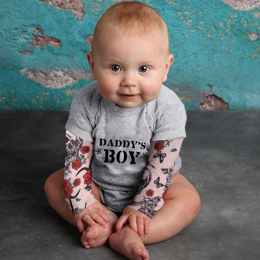 Tattoo Bodysuits Baby Boy Kleding Tattoo Gedrukt Lange Mouw Patchwork Romper Herfst Pak Jumpsuit Kids Outfits