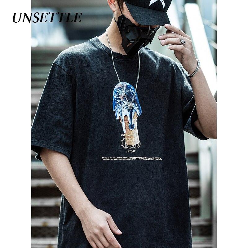 UNSETTLE 2020SS Harajuku T-shirts Summer Men/Women Hip Hop Funny Print Sweet Cone Earth Tshirt Streetwear T Shirts Short Sleeve