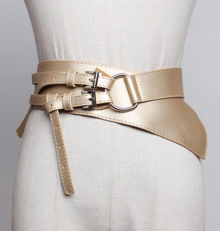 Women's Runway Fashion Pu Leather Cummerbunds Female Dress Corsets Waistband Belts Decoration Wide Belt R1830