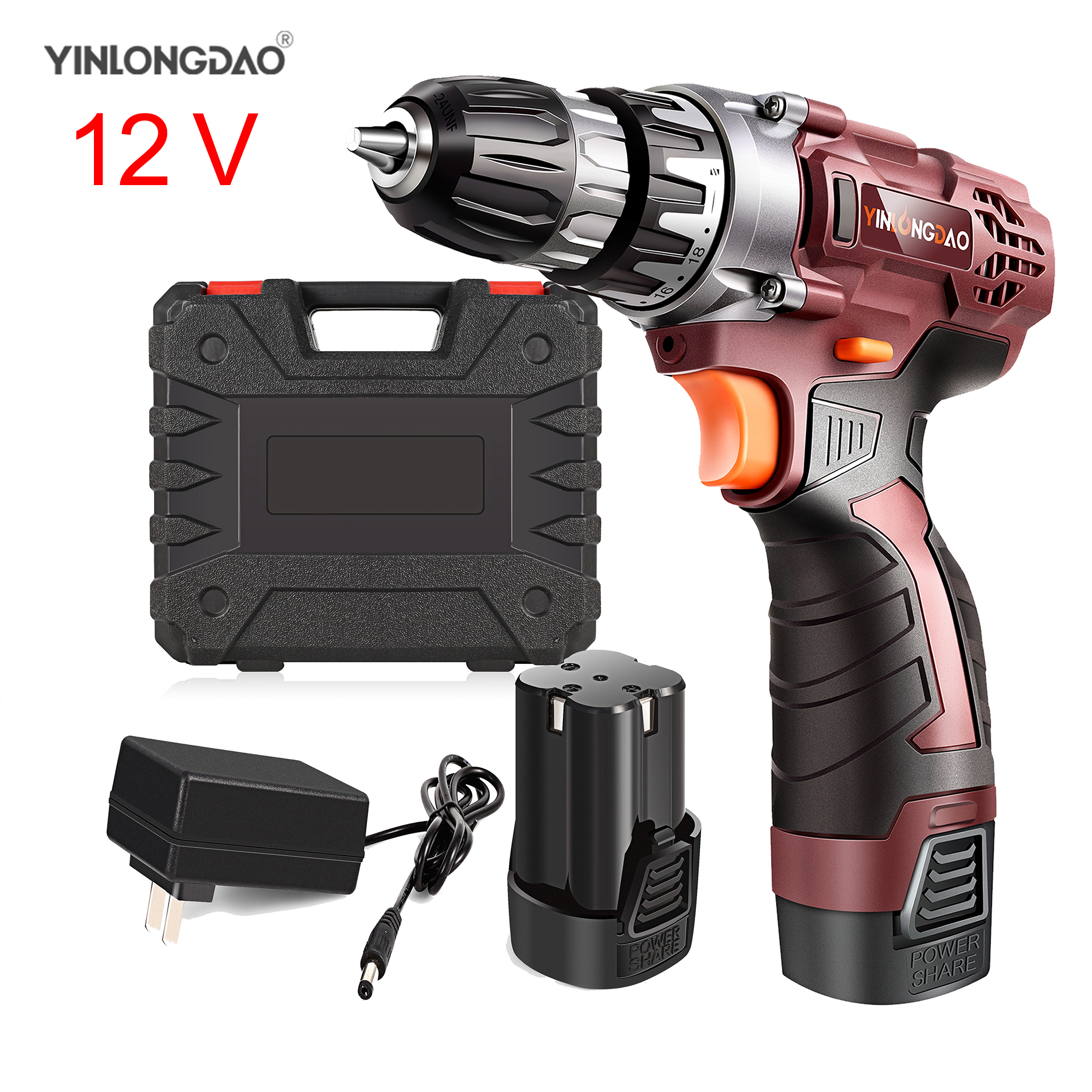 12V Lithium drill Electric Screwdriver Cordless Drill  Lithium Ion Battery Wireless Power Driver DIY Torque drill Power Tools-in Power Tool Accessories from Tools on