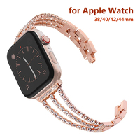 Pulsera de Metal con diamantes de imitación para Apple Watch, pulsera de 38mm, 40mm, 42mm y 44mm para mujer, Iwatch Series 6 5 4 3 Se