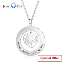 цены Personalized Tree of Life Engrave Name Necklace 925 Sterling Silver Custom Necklaces & Pendants Family Gifts (JewelOra NE102380)