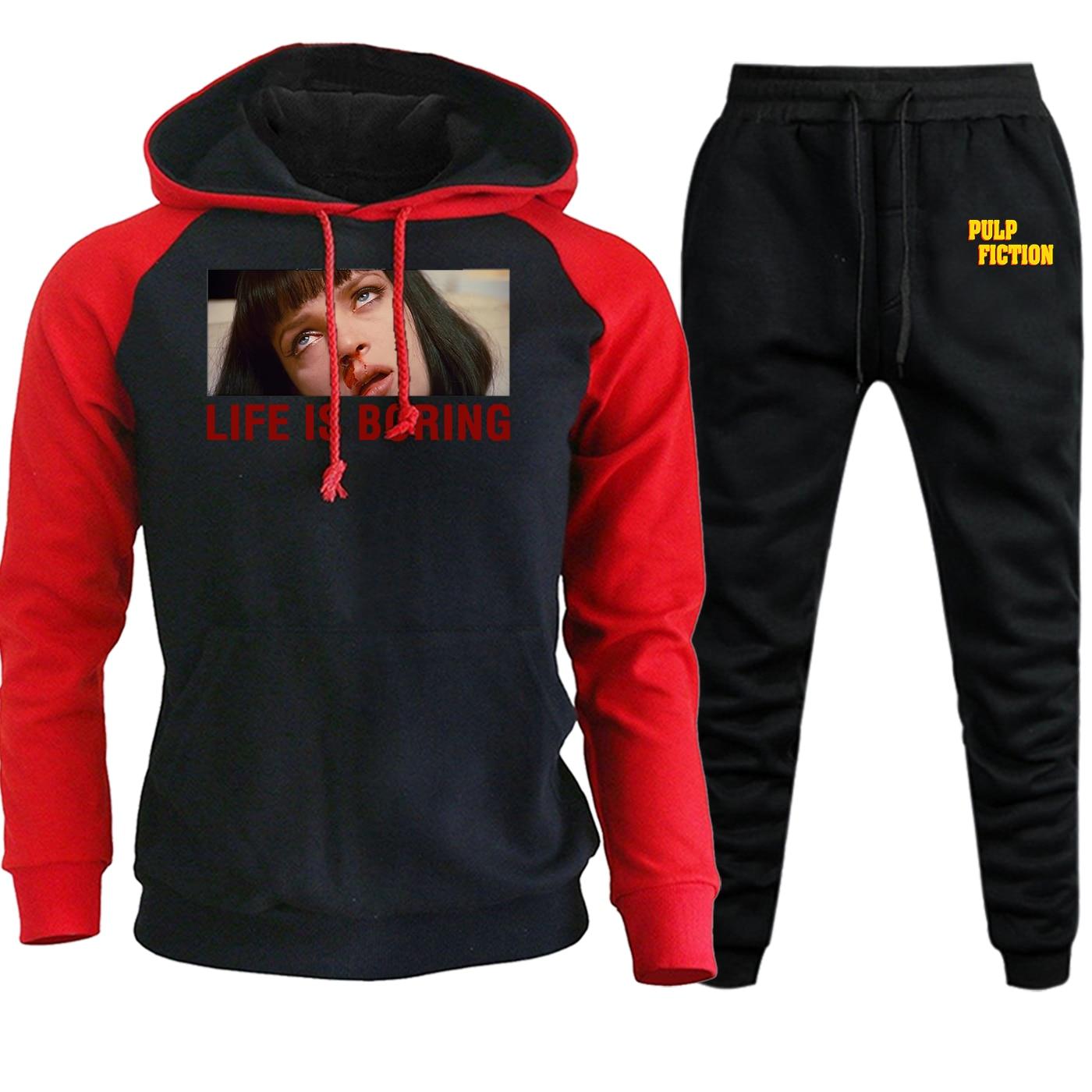 Pulp Fiction Life Is Boring 2019 New Autumn Winter Men Hoodies Streetwear Raglan Vintage Suit Casual Pullover+Pants 2 Piece Set