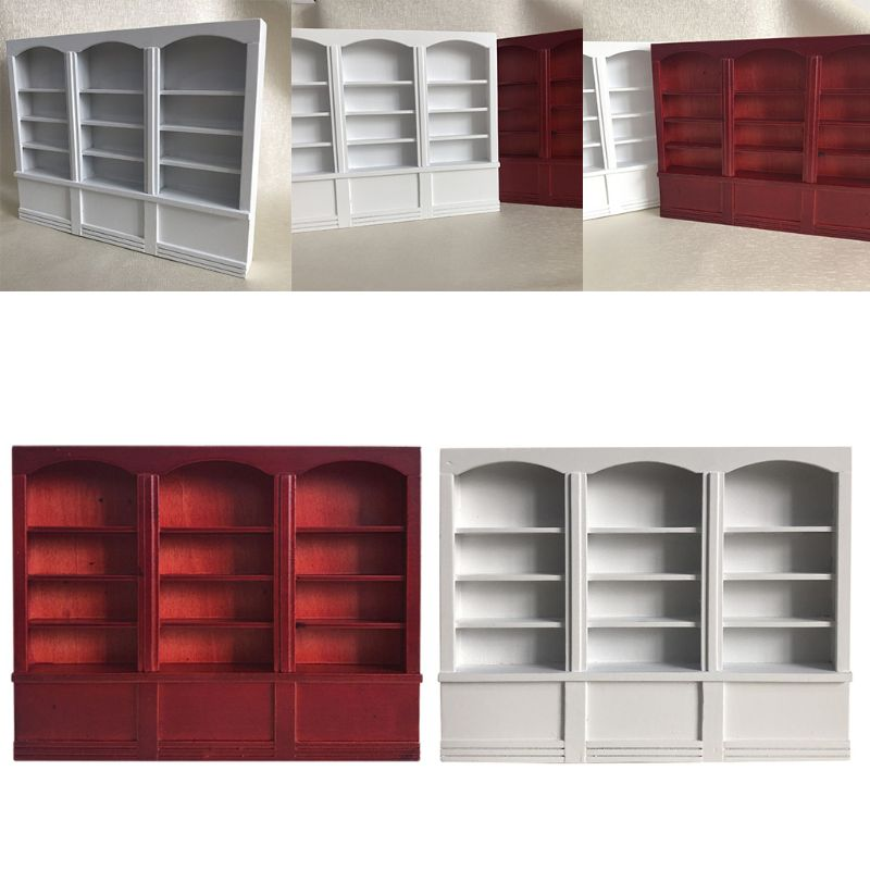 1:12 Dollhouse Red Bookshelf Miniature Bookcase Furniture Decorative Accessories P31B