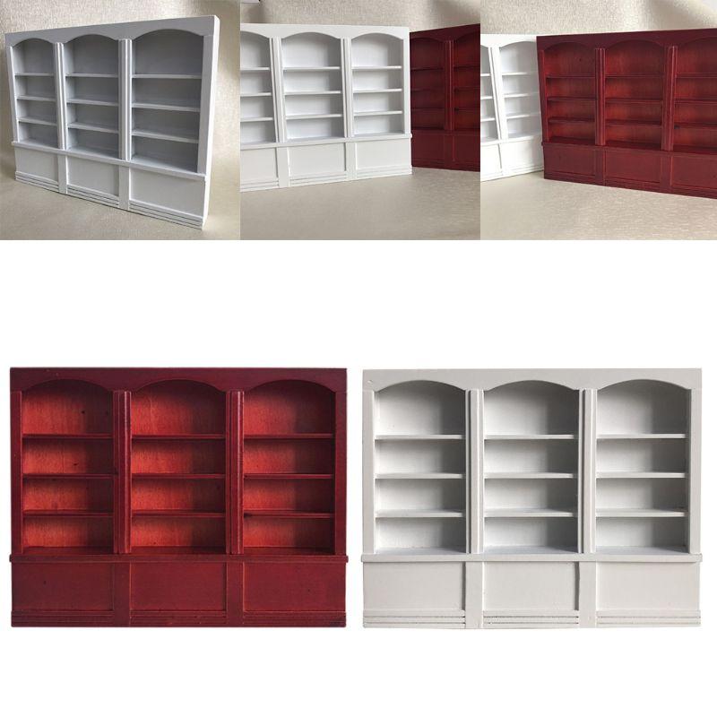 1:12 Dollhouse Red Bookshelf Miniature Bookcase Furniture Decorative Accessories P31B