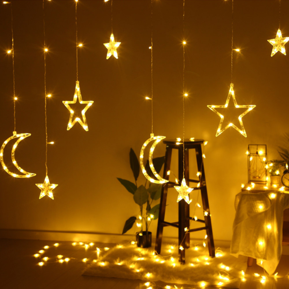 Leds Romantic Holiday Lights Star Moon Led Curtain String Light Christmas Ramadan Garland Light For Wedding Party Decor