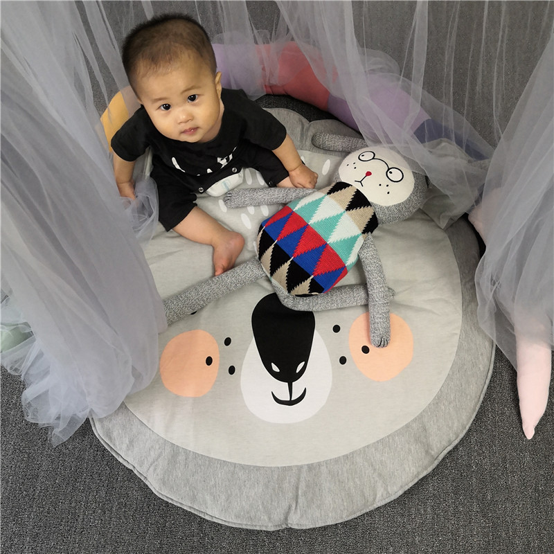 H304a16d69aab4e468d04e6b81bb267f8f Child Play Mats kids animal Crawling Carpet Floor Rug Baby soft cotton sleeping Game rugs Children Room Decor Photo Props 90CM