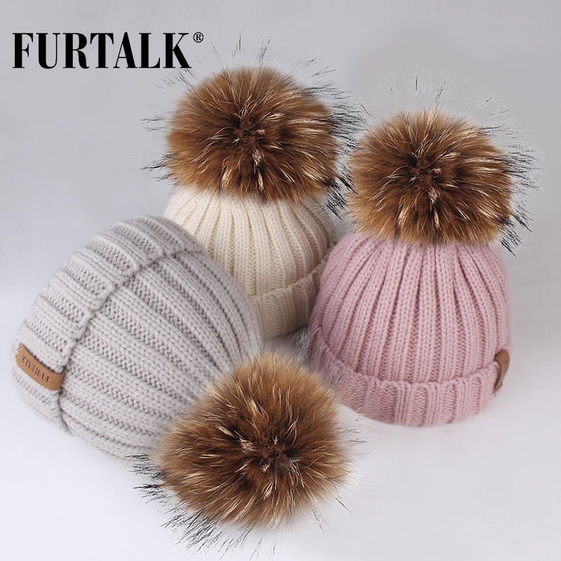 FURTALK Winter Pompom Hat For Kids Ages 1-10 Knit Beanie Winter Baby Hat For Children Fur Pom Pom Hats For Girls And Boys