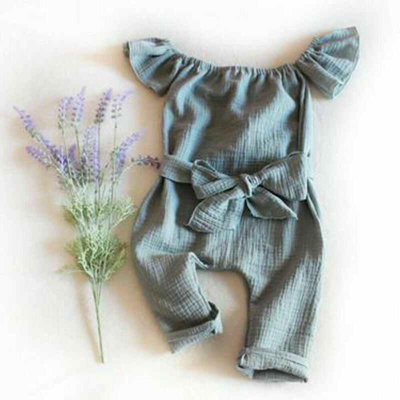 Kids Baby Girl Summer Green Cotton Jumpsuit One Piece Outfit Clothes