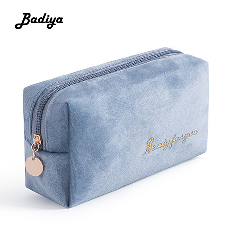 Fashion Women Cosmetic Bag Cute Soft Flannel Cosmetic Storage Bag Beauty Case Ladies Organizer Toiletry Makeup Bags For Travel
