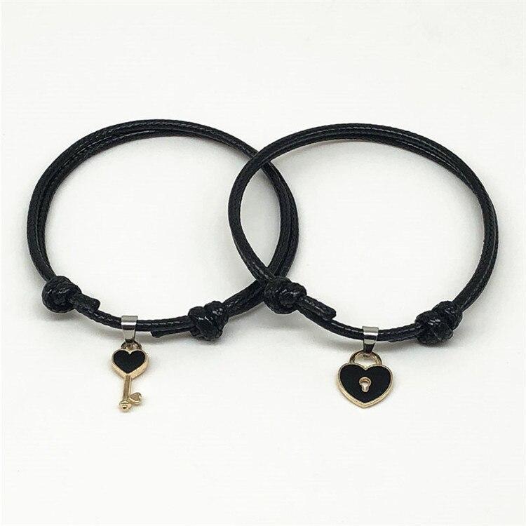 New Arrival Couple Bracelet Alloy key Heart Lock Charm Bracelet Handmade Jewelry Rope Bracelet Lovers Gifts for Women(China)