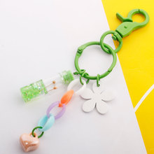 New Womens fashion keychain glass bottle pendant Car decoration bag accessories rose drift key chain lover gift