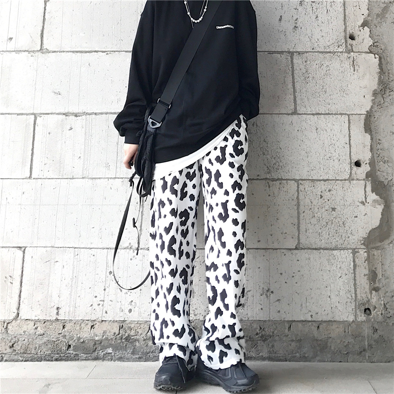 Men's Casual Pants 2020 Spring And Summer New Retro Casual Cow Pattern Wide Leg Trousers Young Personality Trend Men's Clothing