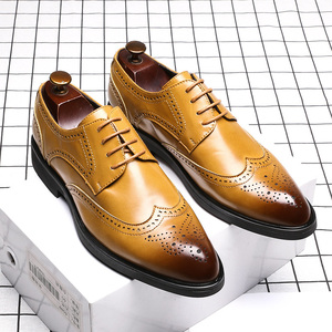 Image 3 - Men Dress Shoes Brogue Style Paty Leather Wedding Men Flats Leather Oxfords Formal Shoes
