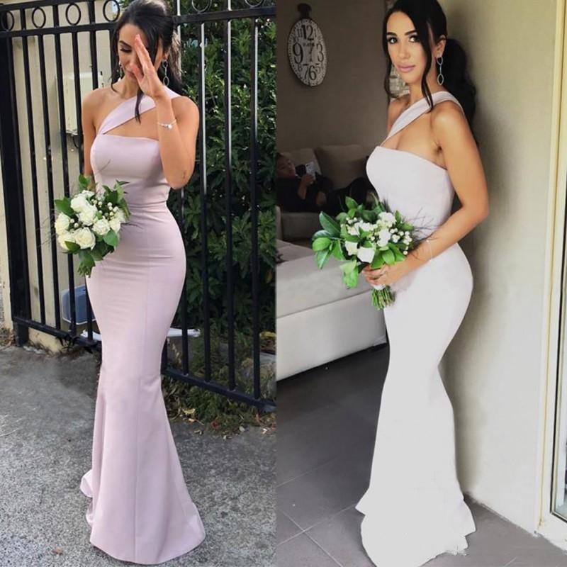 2020 Modern Mermaid Bridesmaid Dresses For Weddings Satin One Shoulder Sleeveless Floor Length Plus Size Formal Maid Of Honor Go