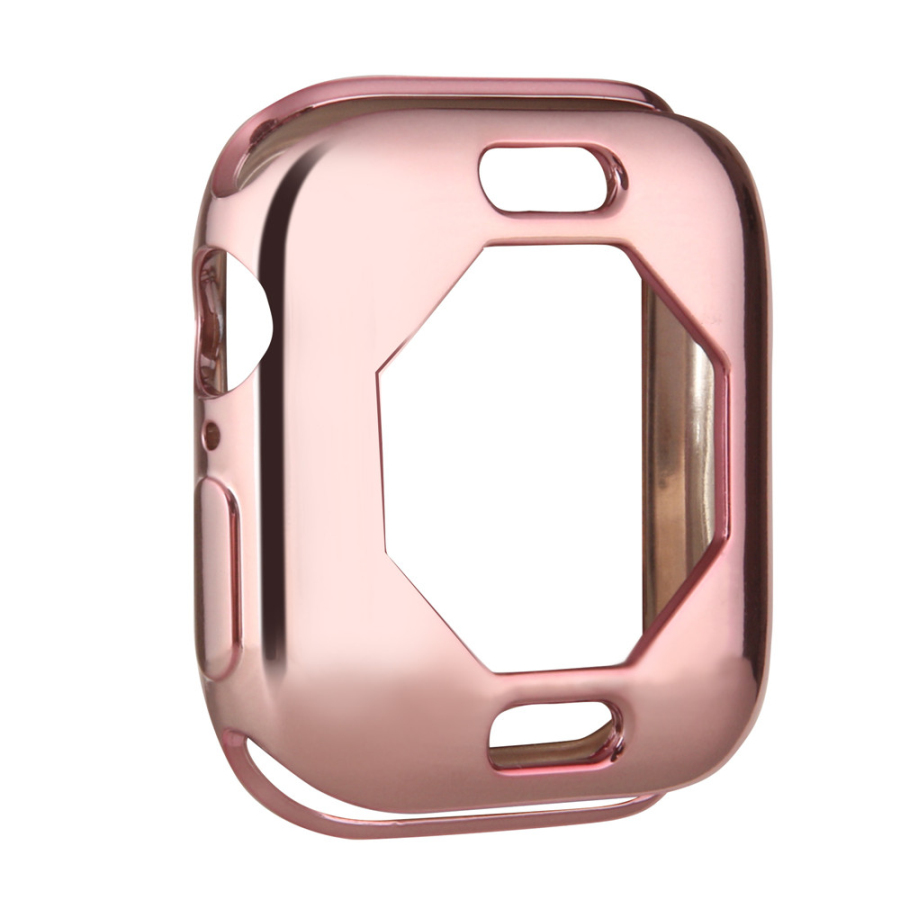 Чехол s для Apple Watch, 44 мм, 40 мм, серия 5, чехол с покрытием, TPU, мягкая защитная оболочка, защитная рамка для iWatch, 4 полосы, бампер - Цвет: Розовый