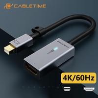 CABLETIME Mini Displayport to HDMI Adapter Sync Data 4K 60HZ Mini Dp Converter for Macbook Lenovo Acer C315