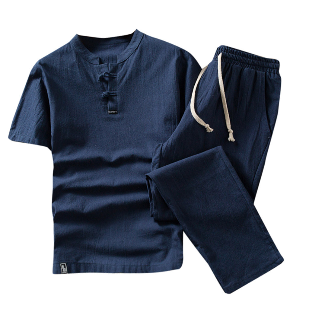 Plus Size Men's Linen 2 Piece Sets Short Sleeve Summer Brand Vintage V Neck Linen And Cotton Suits For Men (T-shirt+Pant) 1.17