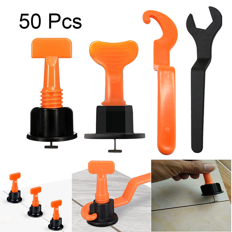 50PCS Tile Leveling System Kit Tool Kit Level Wedges Alignment Spacers For For Construction Building Walls Floors Tile Carrelage