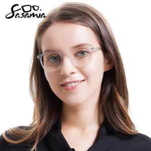 Image 1 - SASAMIA نظارات إطار شفاف واضح النساء إطار نظارات خلات مربع مشهد الأبيض نظارات العين إطارات النظارات للنساء