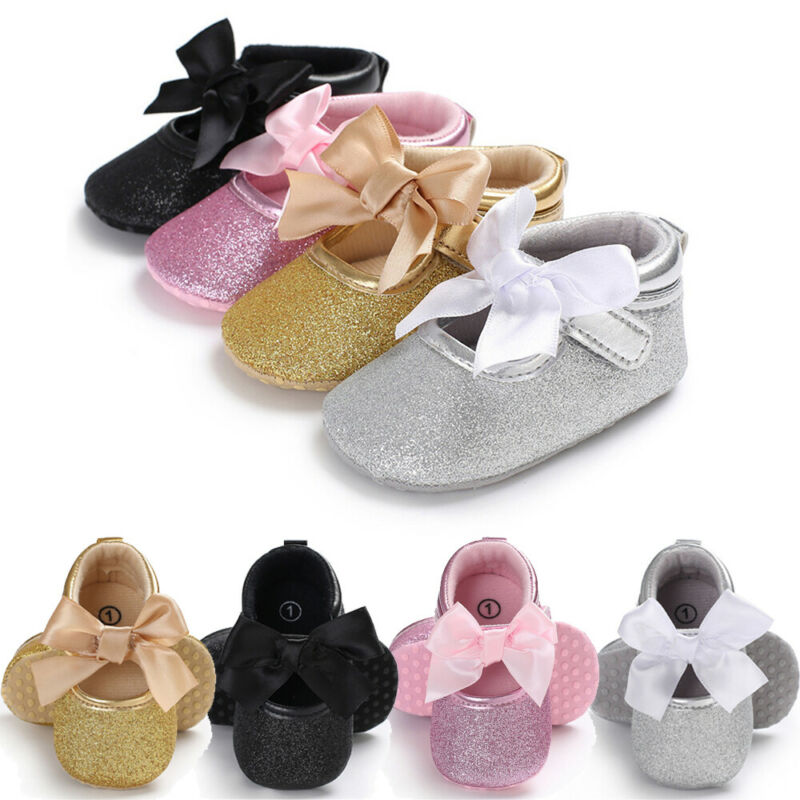 CANIS Toddler Kids Baby Girls PU Princess Bow Loving Heart Shoes Crib Sole Sneaker
