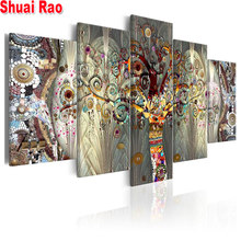 5 Pieces Gorgeous abstract fortune tree picture of rhinestone embroidery mosaic diamond full square 5 d diamond painting scenery(China)
