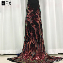HFX 2020 Latest Velvet sequined lace fabric  French Nigerian Lace Fabrics High Quality sequin African Lace Fabric Wedding H3385