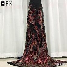 Hfx 2020 mais recente veludo lantejoulas tecido do laço francês nigeriano tecidos de renda alta qualidade lantejoulas africano tecido casamento h3385