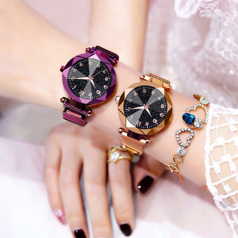 Women Watches 2019 Brand Luxury Bracelet Quartz Stainless Steel Band Magnet Buckle Starry Sky Wrist Watch Ladies Dress Clock