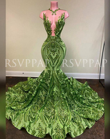 Long Prom Dresses 2020 New Arrival African Black Girl Sexy See Through Top Glitter Sequin Lace Green Mermaid Prom Gowns