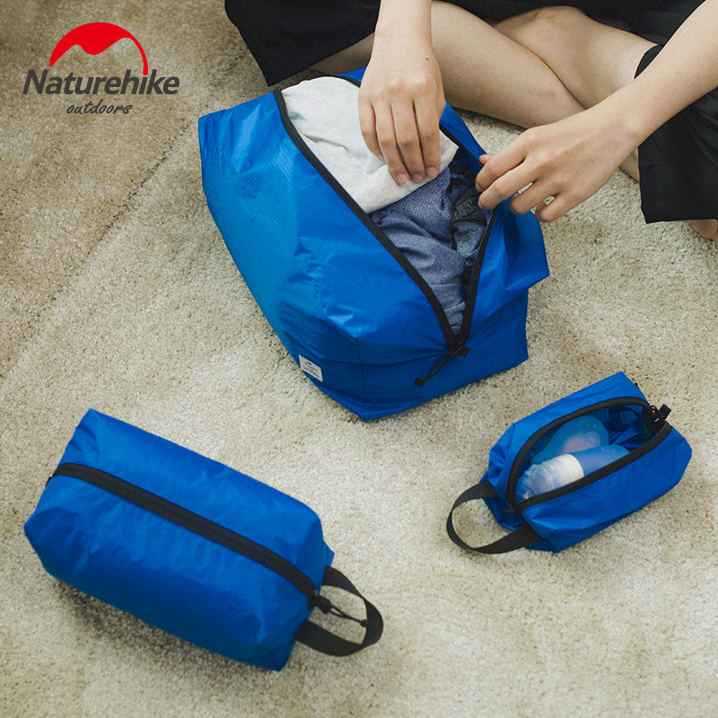 Naturehike 3pcs Waterproof Travel Storage Bag Clothes Bag Nylon Ultralight Business Wash Storage Pouch Baggage Sorting Bag