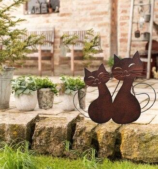 Ornamentos de jardim do vintage de ferro forjado estilo europeu, villa ferrugem retro dois gatinho ornamentos
