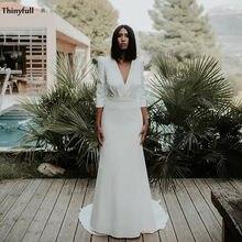 Thinyfull-Vestido de novia de satén bohemio con mangas, cuello en V de playa con traje de novia, cola de barrido, sencillo de talla grande, Vestido Blanco