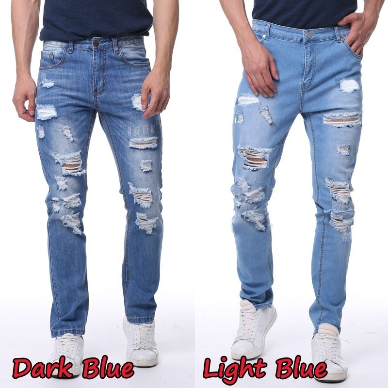 New Style Hot Selling MEN'S Jeans Slim Fit Straight-Cut With Holes Washing Large Size MEN'S Trousers