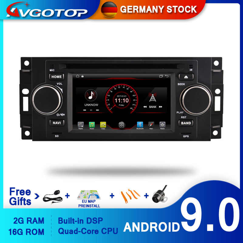 AVGOTOP Android 9 Wince Autoradio Lettore DVD Per CHRYSLER 300C 2G 16G GPS Multimedia