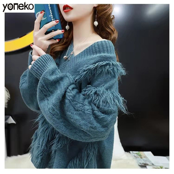 Korean New Arrival Thick Winter Knitted Women Sweater V-neck tassel  Long Sleeve Sweater Pullover Loose Ripped Sweater Women