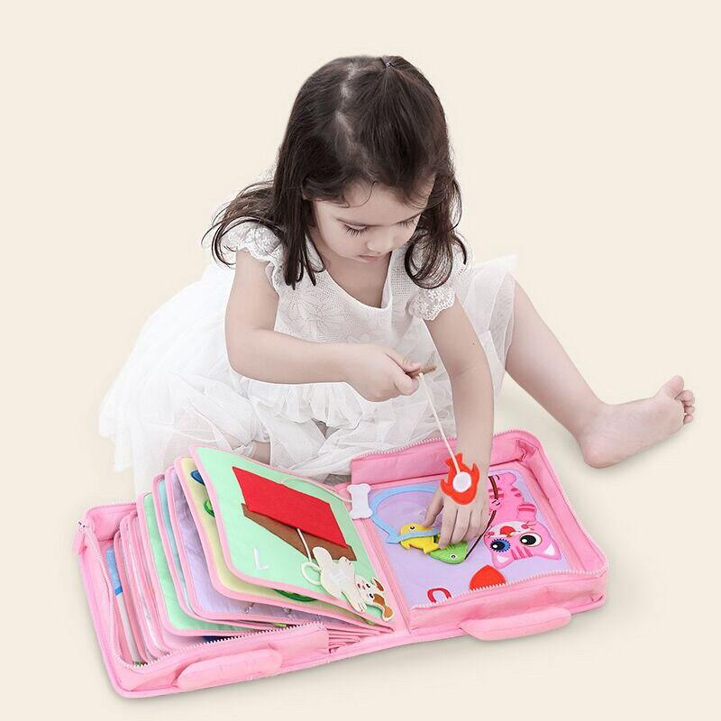 Libro de bebé Montessori de tela suave, libros de tela Sensorial para bebés, juguetes educativos interactivos de aprendizaje para niños pequeños, regalos de libros para edades tempranas - 3