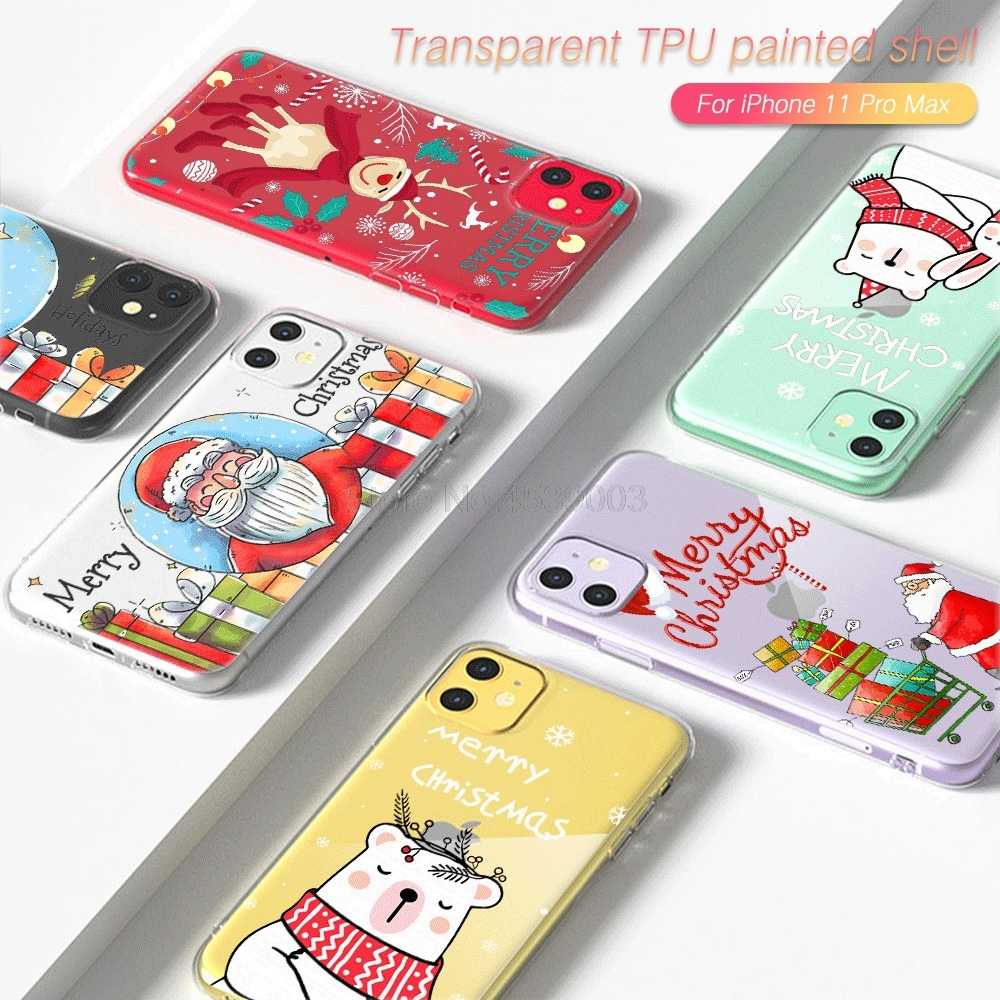 Cartoon Christmas Pattern Case For iPhone 11 Pro Max 12 SE2020 X XS Max XR Xs 8 7 6 6S Plus Transparent Back Cover Case Capa
