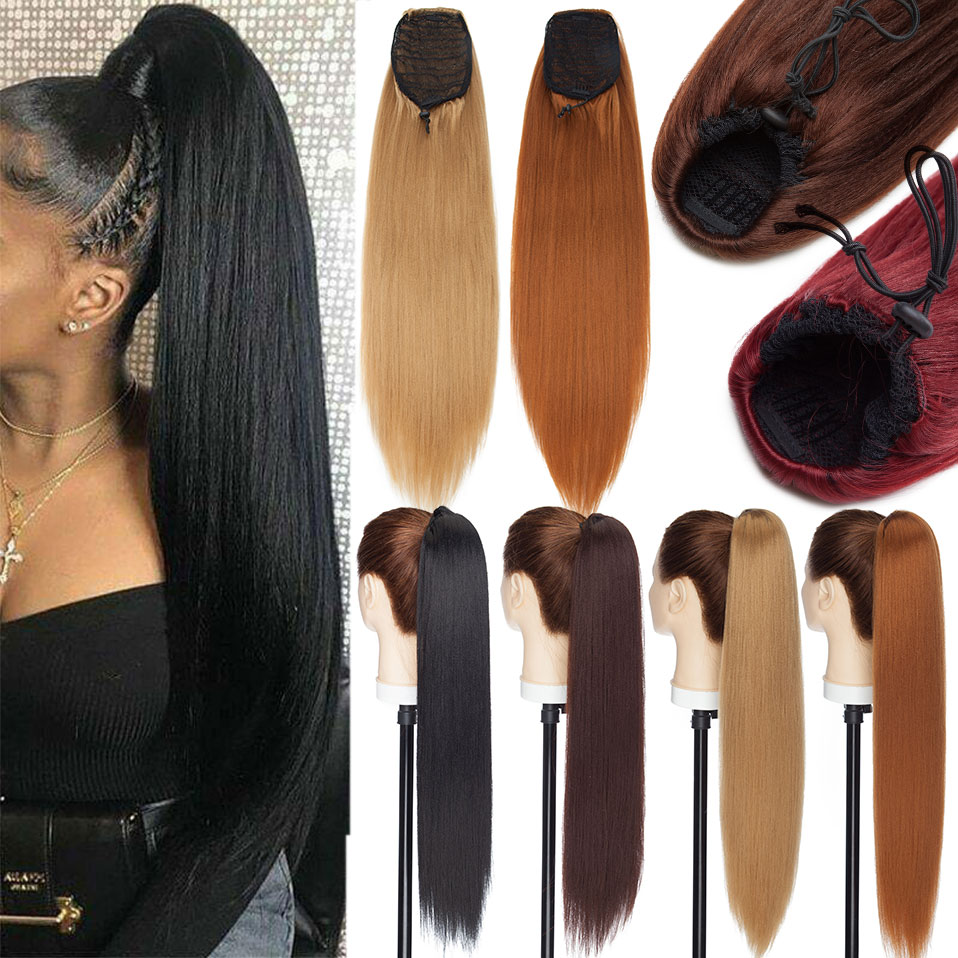 S-noilite 22 дюймов афро Яки прямые хвост клип в конский хвост, для увеличения волос, прическа