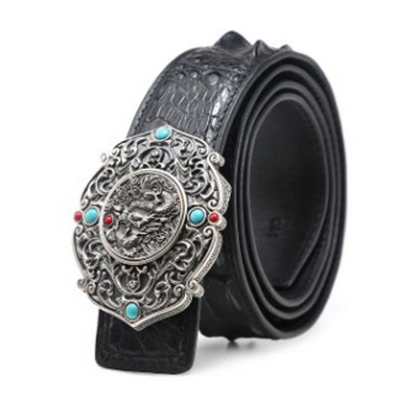 LINSHE  Belt  Male  Genuine Leather  High-grade  925 Sterling Silver  Jade Buckle  The Real Thing  Crocodile  Men Belt  Business